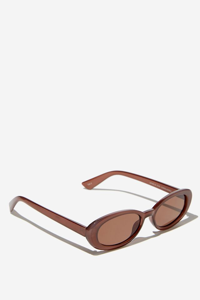 Ophelia Oval Sunglasses, CHOCOLATE