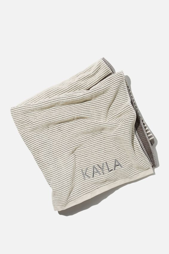 Personalised Bondi Rectangle Towel, BLACK COLOUR BLOCK