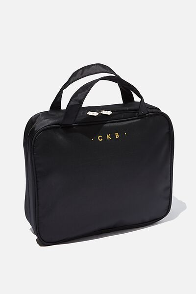 Monogrammed Double Handle Cosmetic Case, BLACK/GOLD