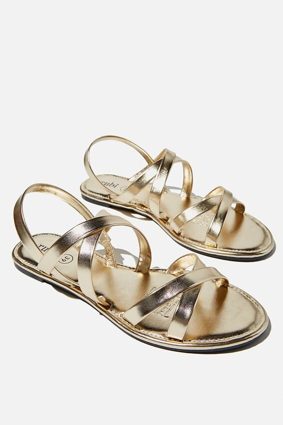 Lucy Strappy Slingback Sandal, GOLD METALLIC/GOLD