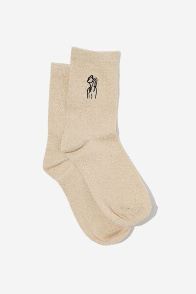 Embroidered Crew Sock, GOLD SPARKLE/LINE ART