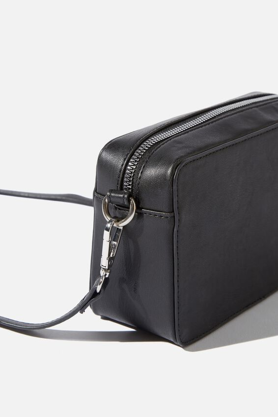Stevie Boxy Cross Body Bag, BLACK