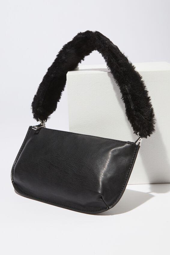 Fur Short Bag Strap, BLACK