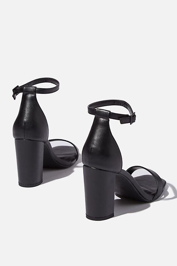 San Square Toe Heel, BLACK PU/BLACK