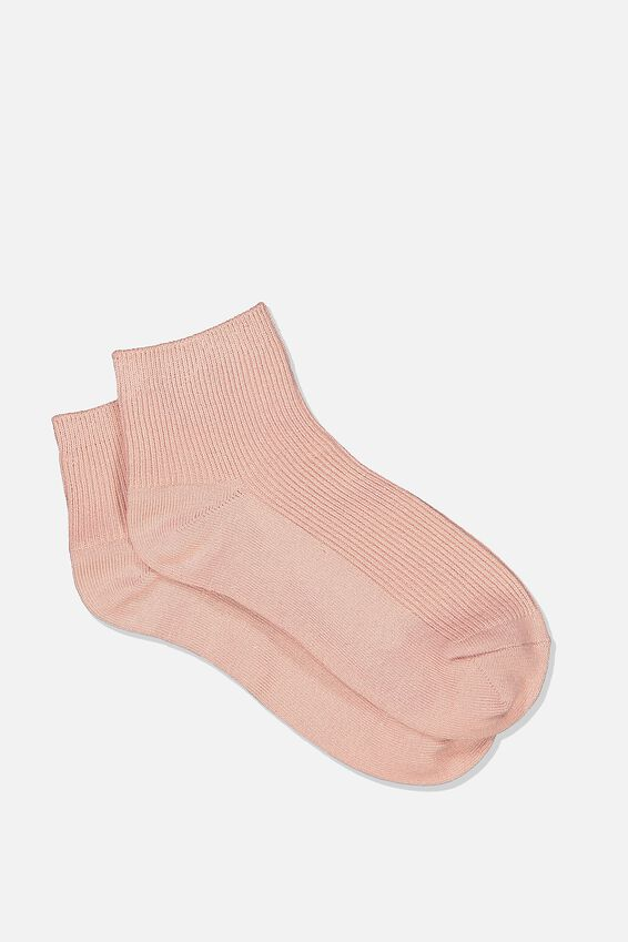 Ribbed Mini Crew Sock, MISTY ROSE