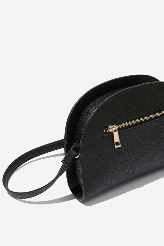 Graceful Half Moon Cross Body Bag, BLACK