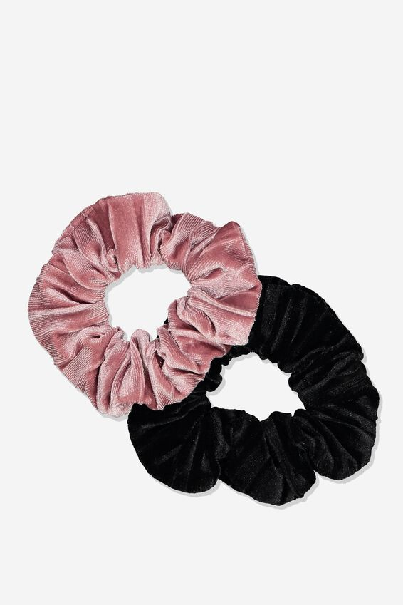 2Pk Scrunchie, BLACK VELVET/BLUSH VELVET