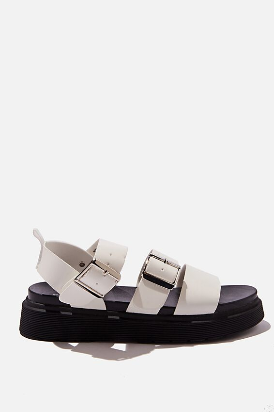 Kim Combat Sandal, WHITE PU