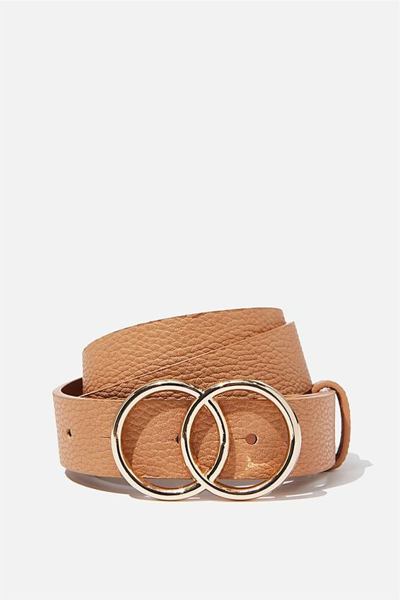 Double Circle Belt, TAN PEBBLE
