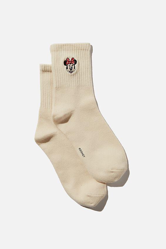 Fine Rib Sports Sock, LCN DIS ECRU MINNIE