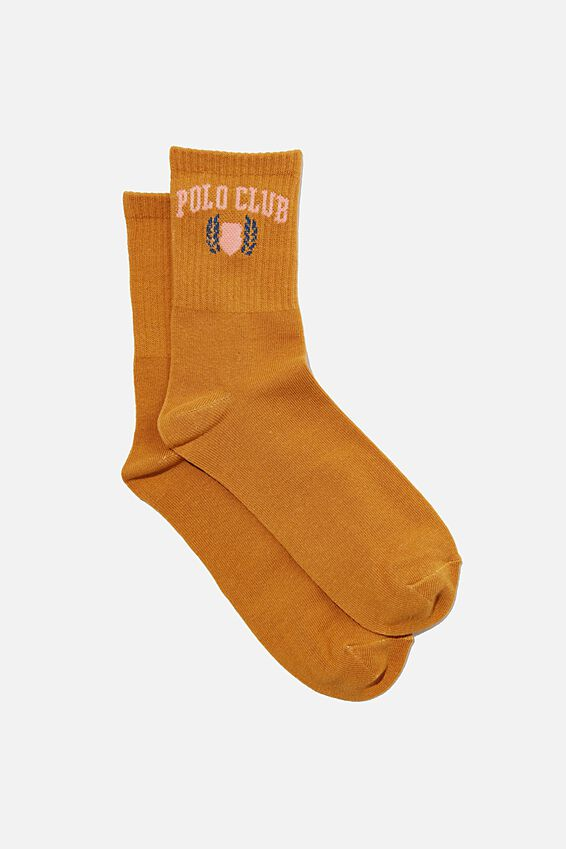 Fine Rib Sports Sock, MUSTARD/POLO CLUB