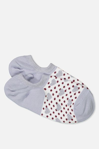 Sports Low Cut Sock, BLUE DOTTY HEARTS
