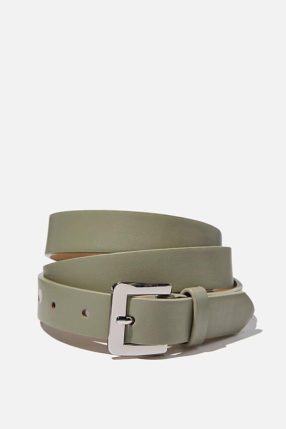 Square Buckle Belt, SOFT TEAL/SILVER