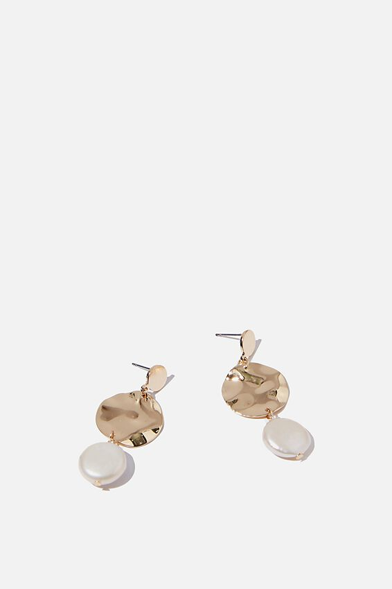 Gold Warped Disc Pearl And Gold Earring, GOLD/PEARL
