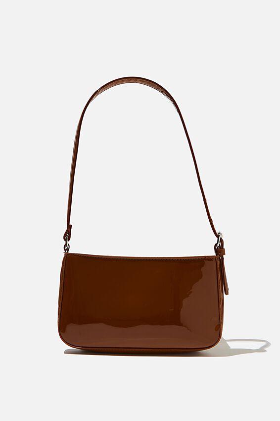 Lexi Underarm Bag, BROWN PATENT