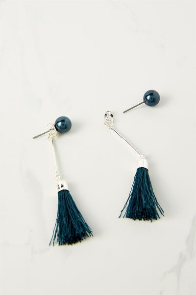 Pearl Single Tassel Earring, JUNE BUG