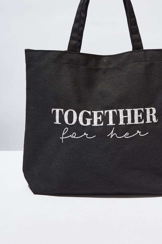 Minimalist Washed Tote, GIRL UP TOGETHER FOR HER BLACK
