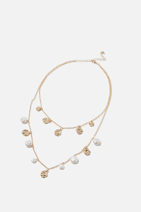 Pearl And Hammered Disc Treasures Necklace, MOLTEN GOLD/NATURAL PEARL