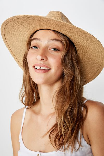 Sabrina Straw Panama Hat, NATURAL