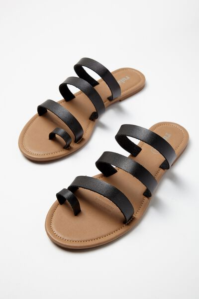 Everyday Toe Loop Multi Strap Slide, BLACK PU