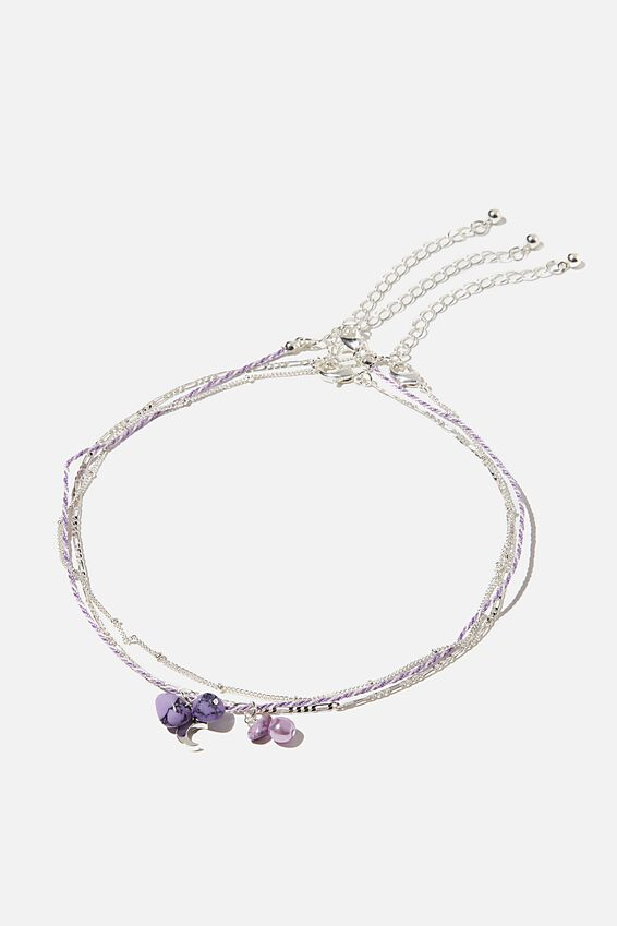 Holiday Beaded 3Pk Necklace Set, LILAC CORD