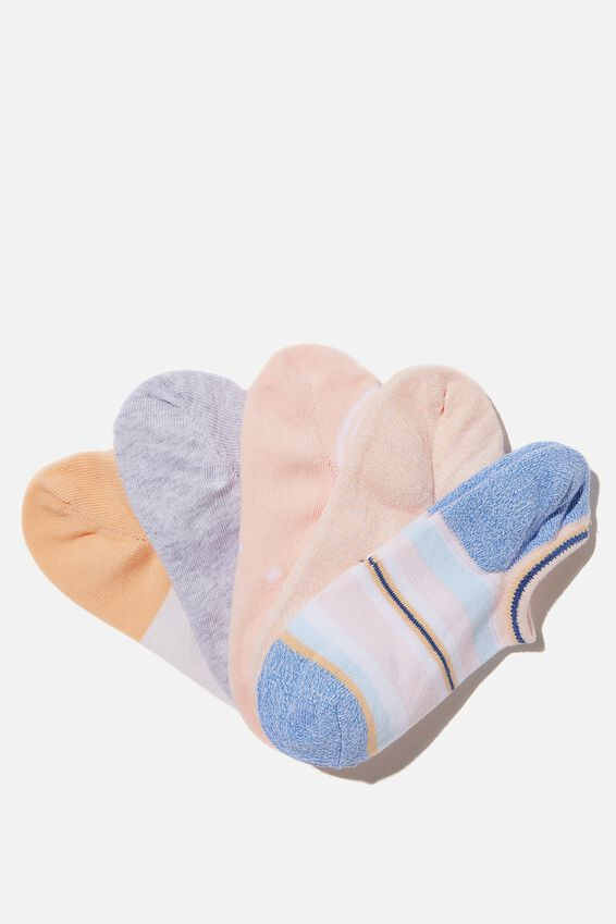 5Pk Sports Low Cut Sock, AMBER MIX