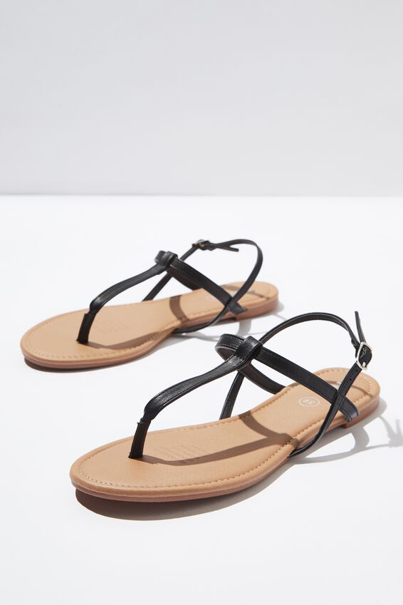 Everyday Toe Post Sandal, BLACK PU