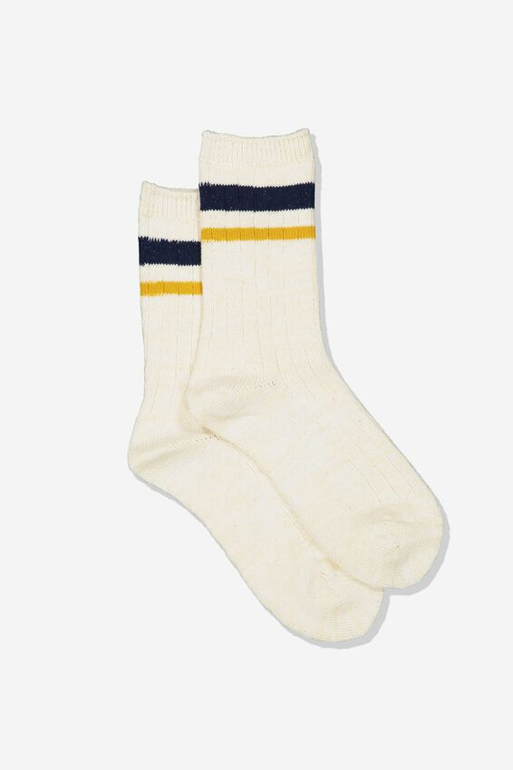 Hiking Sock, CREAM MUSTARD/NAVY STRIPE