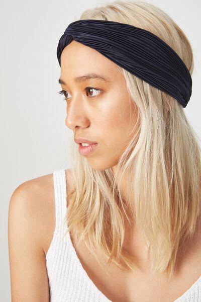 Manhattan Headband, NAVY PLEAT