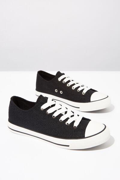 Jodi Low Rise Sneaker 1, BLACK TEXTURE