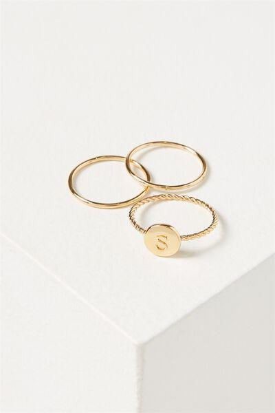 Letter Pendant Ring, GOLD - S