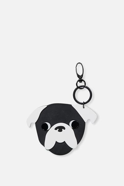 Pug Life Bag Charm, BLACK/WHITE
