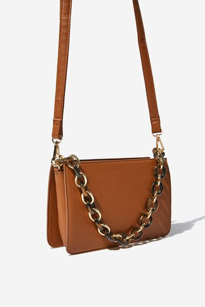 In Chains Cross Body Bag, TAN