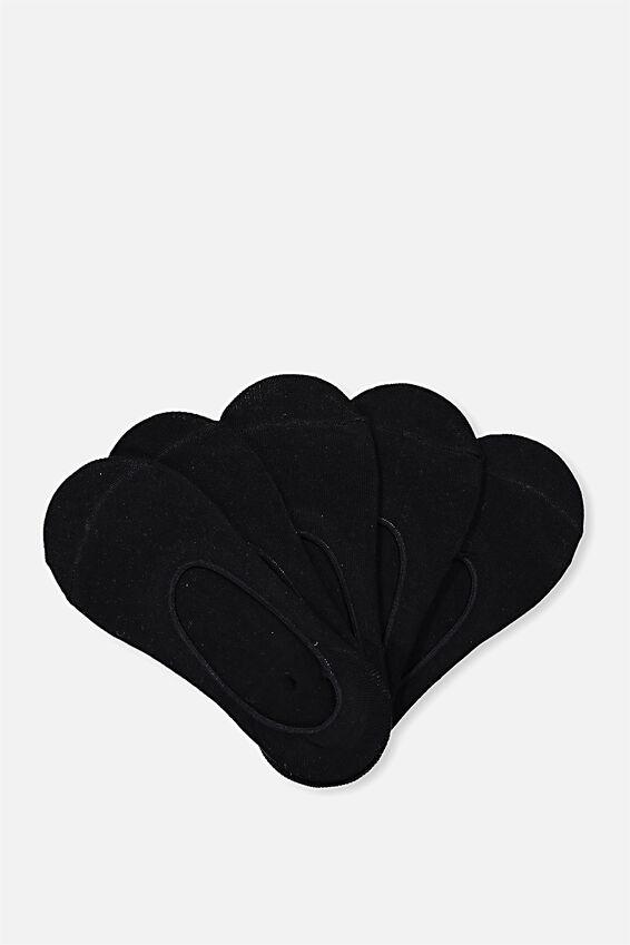 5Pk Low Cut Sock, BLACK