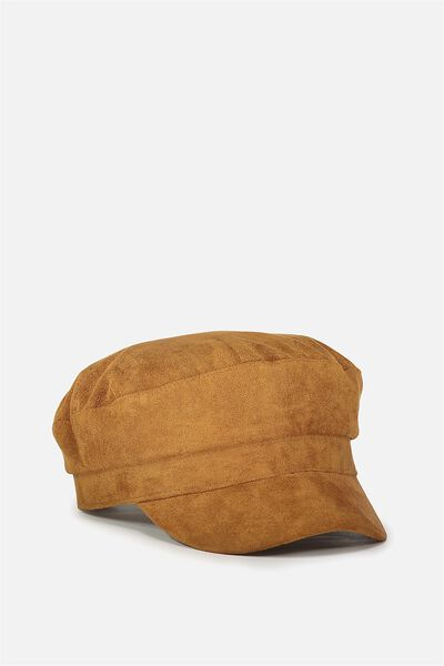Bailey Baker Boy Cap, TAN FAUX SUEDE