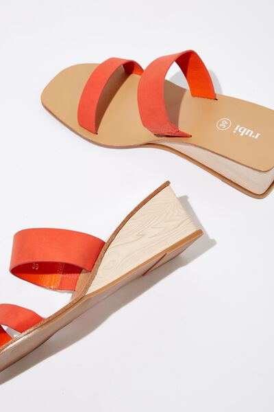 Emilia Double Strap Low Wedge, SUNSET RED