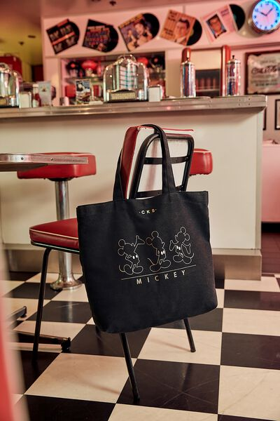 Personalised Minimalist Washed Tote, LCN MICKEY LINE ART