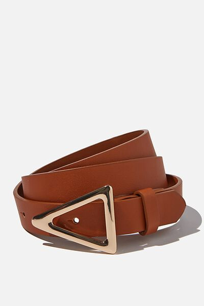 Triangle Buckle Belt, TAN/GOLD