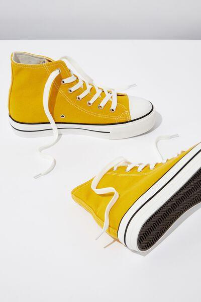 Platform Jemma High Top Sneaker, MUSTARD