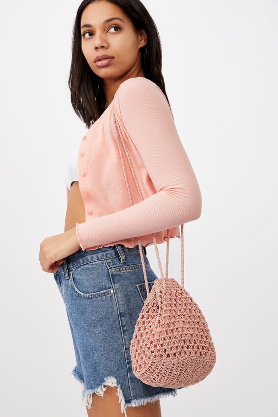 Macrame Knit Bucket Bag, SWEETHEART PINK