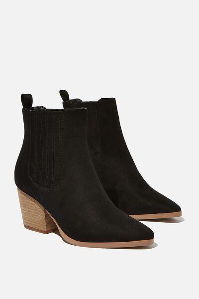 Jolene Gusset Boot, BLACK MICRO
