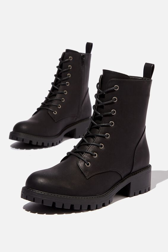 Harlow Lace Up Boot, BLACK