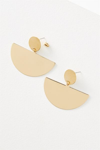 Queen Metal Statement Earring, GOLD