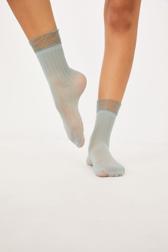 Sheer Frilled Ankle Sock, JADEITE