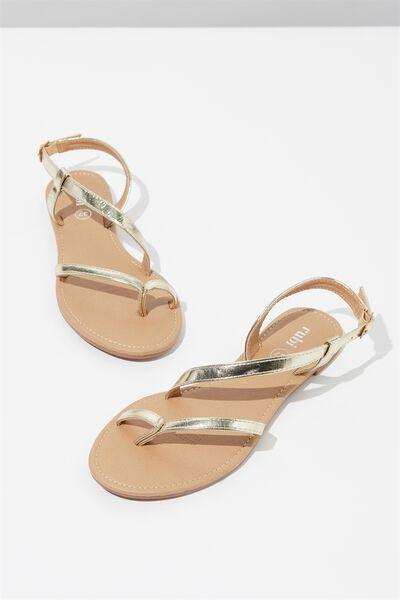 Everyday Annie Asymetric Sandal, GOLD PU