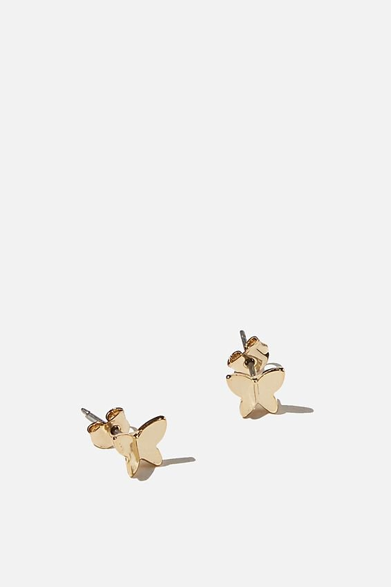 Premium Stud Earrings, BUTTERFLY GOLD PLATED