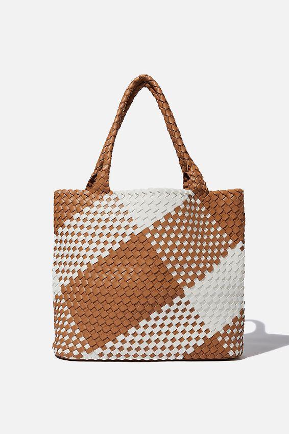Two Tone Woven Tote Bag, TAN/WHITE