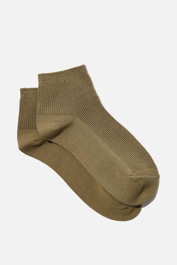 Ribbed Mini Crew Sock, KHAKI