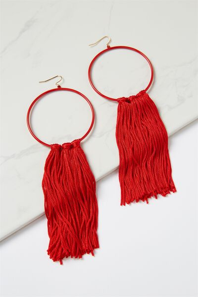 Runway Tassle Statement Earring, RED