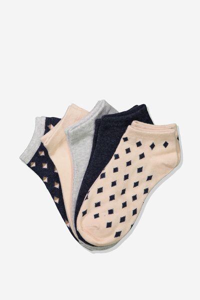 5Pk Ankle Sock, NAVY SHARI GEO